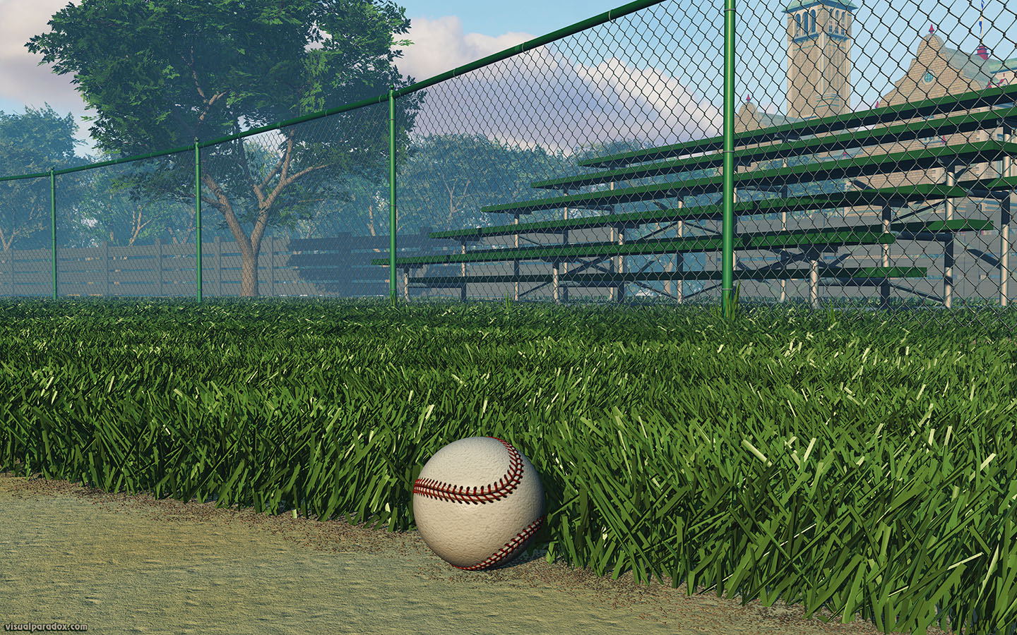 athletics, ball, base, baseball, bleachers, chain, chain-link, chainlink, clouds, diamond, dirt, empty, exercise, fence, field, first, foul, game, green, hardball, health, healthy, hit, infield, park, play, recreation, sandlot, seasonal, sky, sport, sports, stands, summer, sunny, tan, team, trees, white, woods, 3d, wallpaper, widescreen