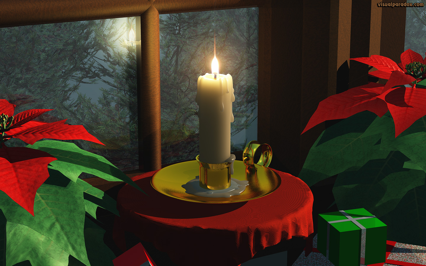 candle, window, fire, holiday, xmas, christmas, flame, poinsettia, candlestick, 3d, wallpaper, widescreen