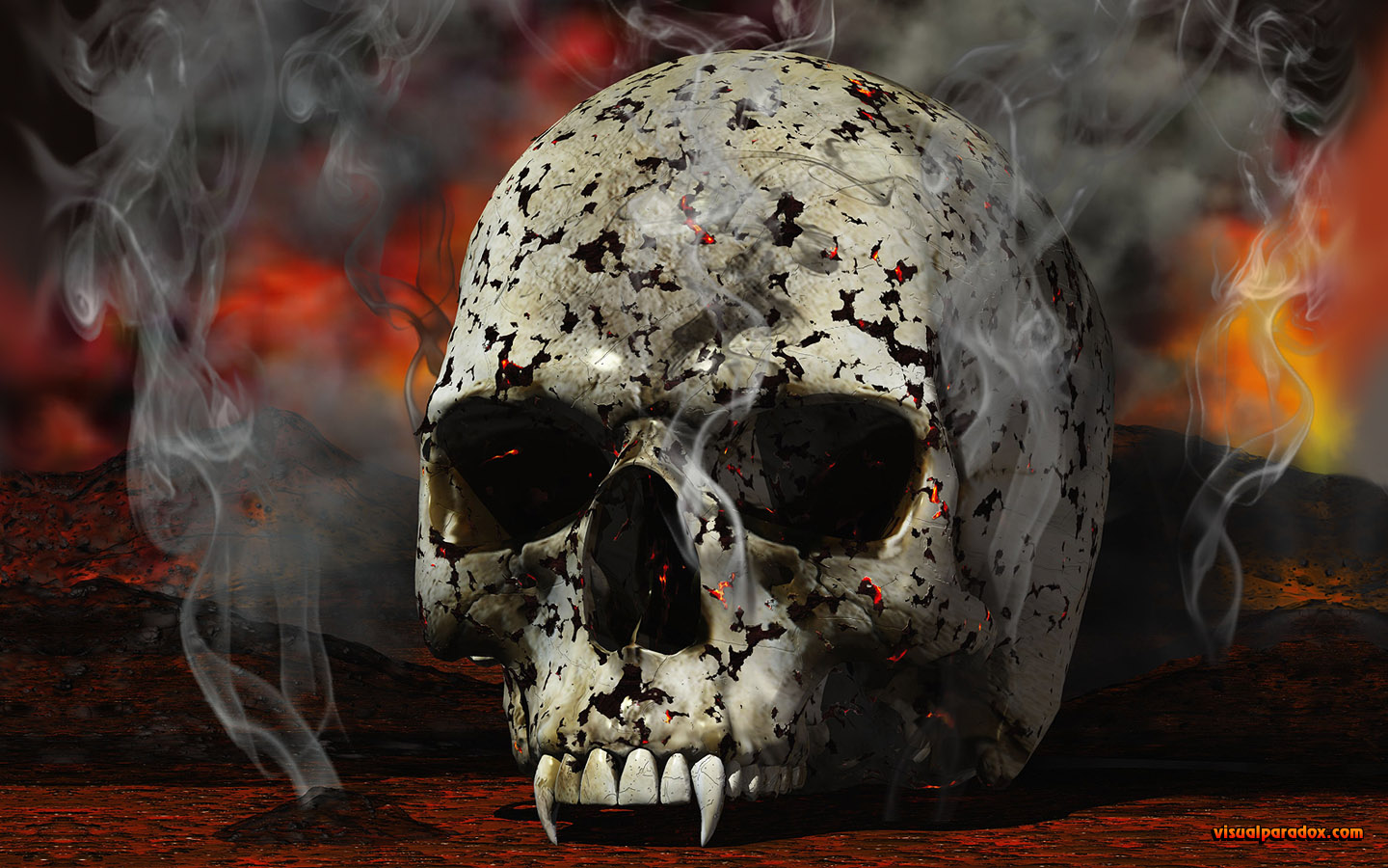 vampire, skull, burn, burnt, smoke, smoked, fire, demon, horror, scary, undead, Nosferatu, vampyre, 3d, wallpaper, widescreen