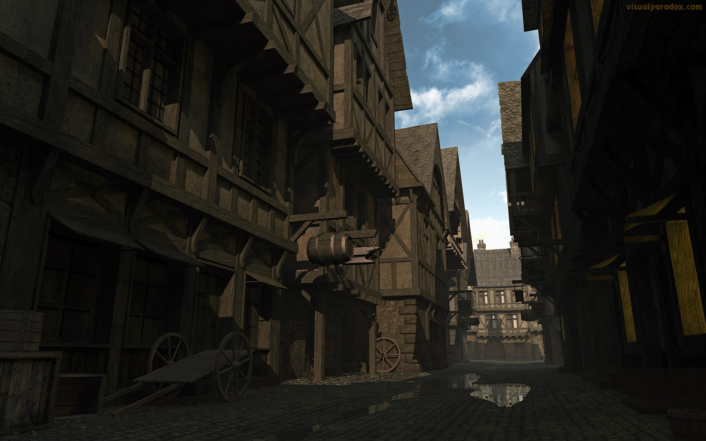 town, burg, city, hamlet, settlement, day, street, avenue, lane, alley, cobblestone, middle ages, dark, morning, 3d, wallpaper, widescreen