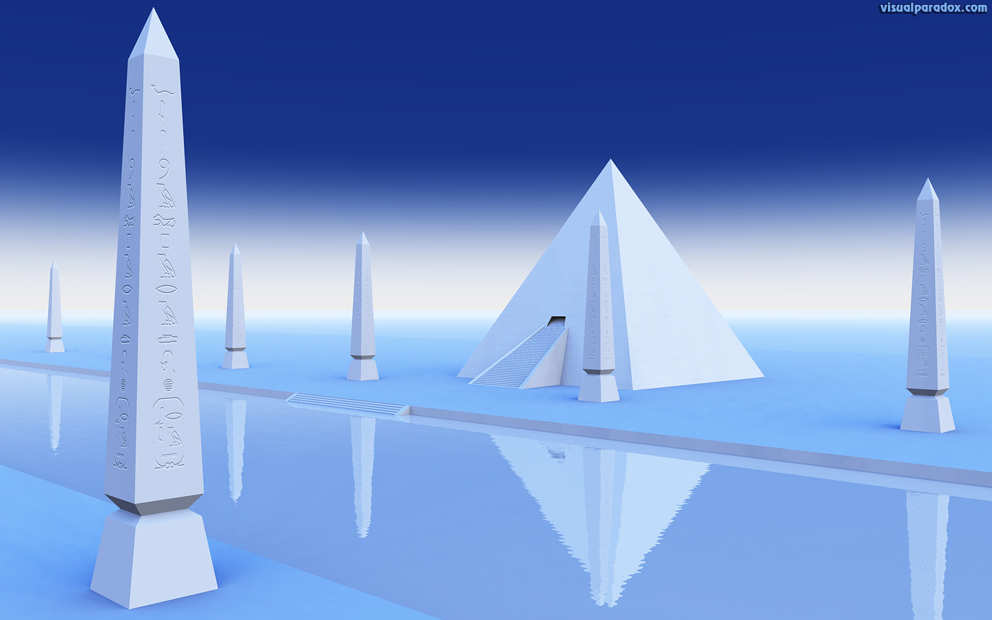 pyramid, river, Styx, Egyptian, hieroglyphics, white, blue, 3d, wallpaper, widescreen