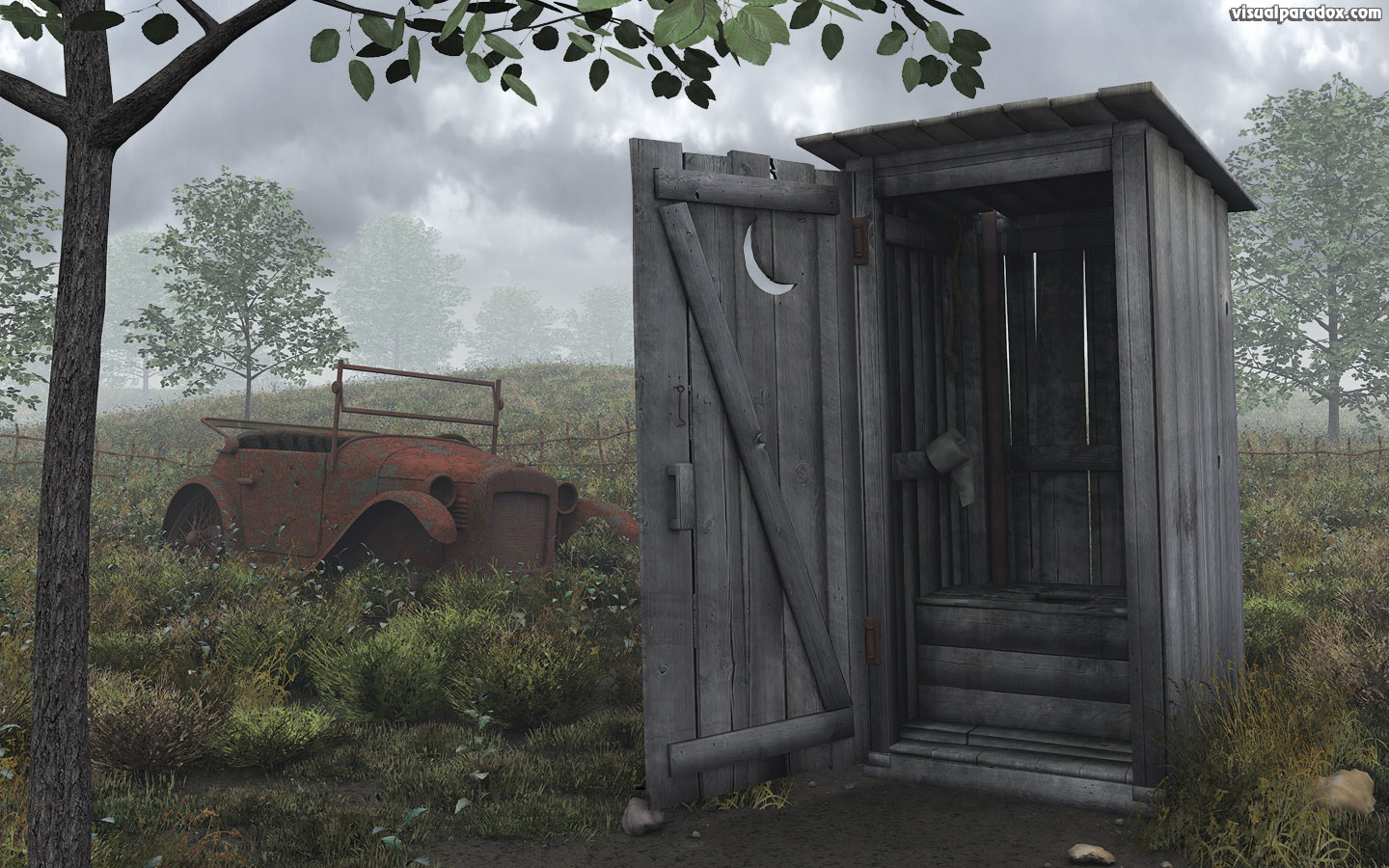 free 3d wallpaper 39 outhouse 39 1440x900 wide screen