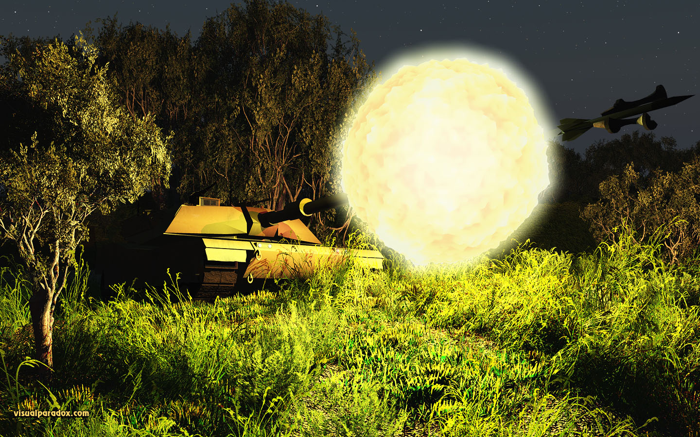 tank, abrams, rocket, shell, round, fire, cannon, blast, shoot, battle, 3d, wallpaper, widescreen