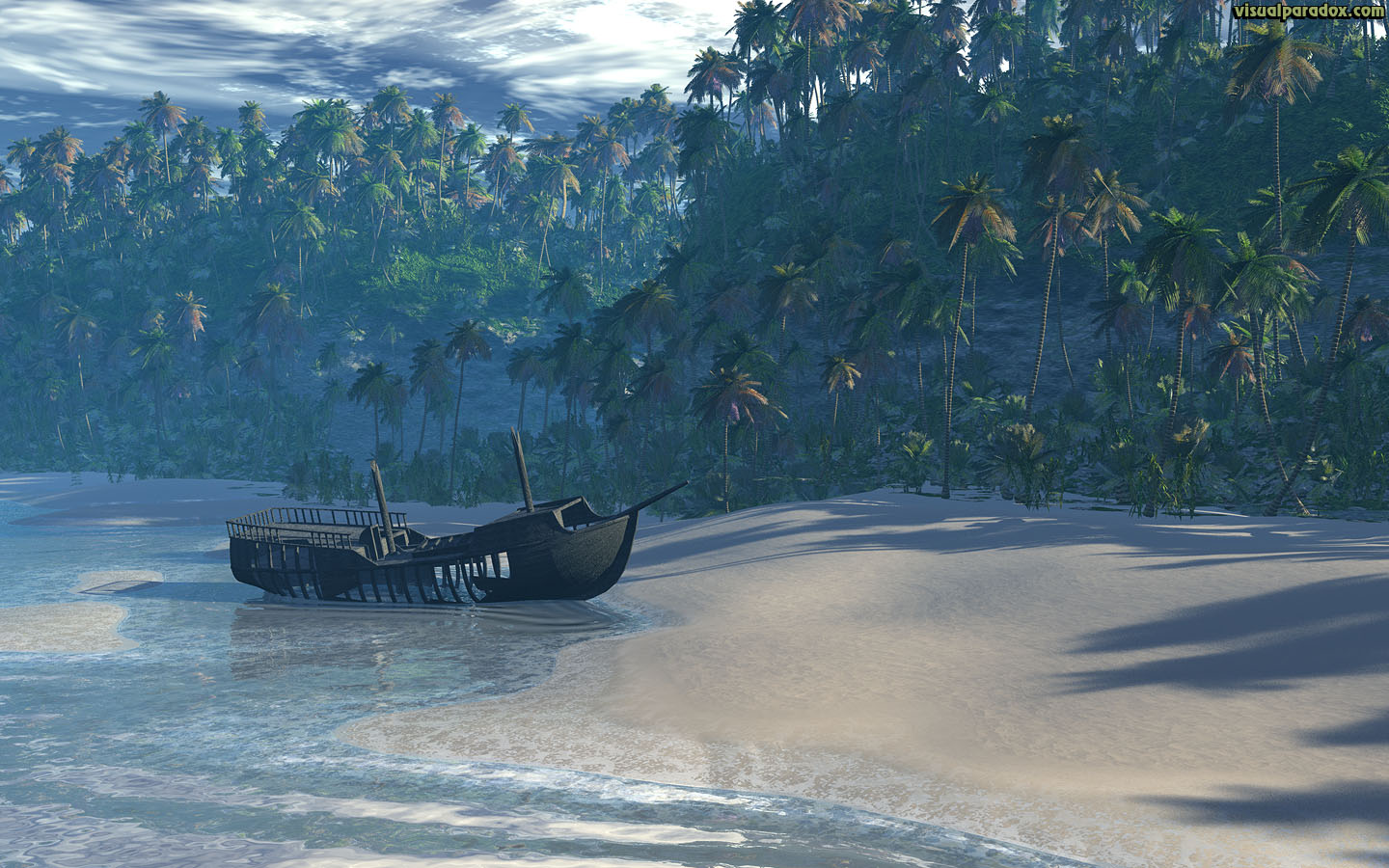 Free 3D Wallpaper 'Shipwreck Beach' 1440x900 wide-