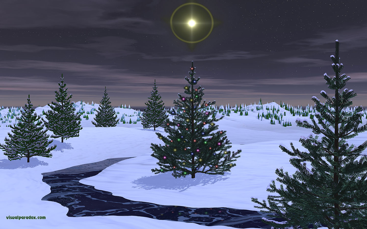 holiday, christmas, x-mas, stars, lights, snow, stream, ice, frozen, pines, trees, tree, 3d, wallpaper, widescreen