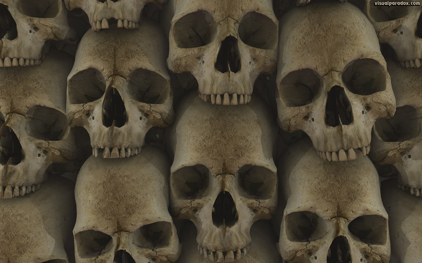 skull, bone, head, stack, Les Catacombes, crypt, gothic, skulls, bones, 3d, wallpaper, widescreen