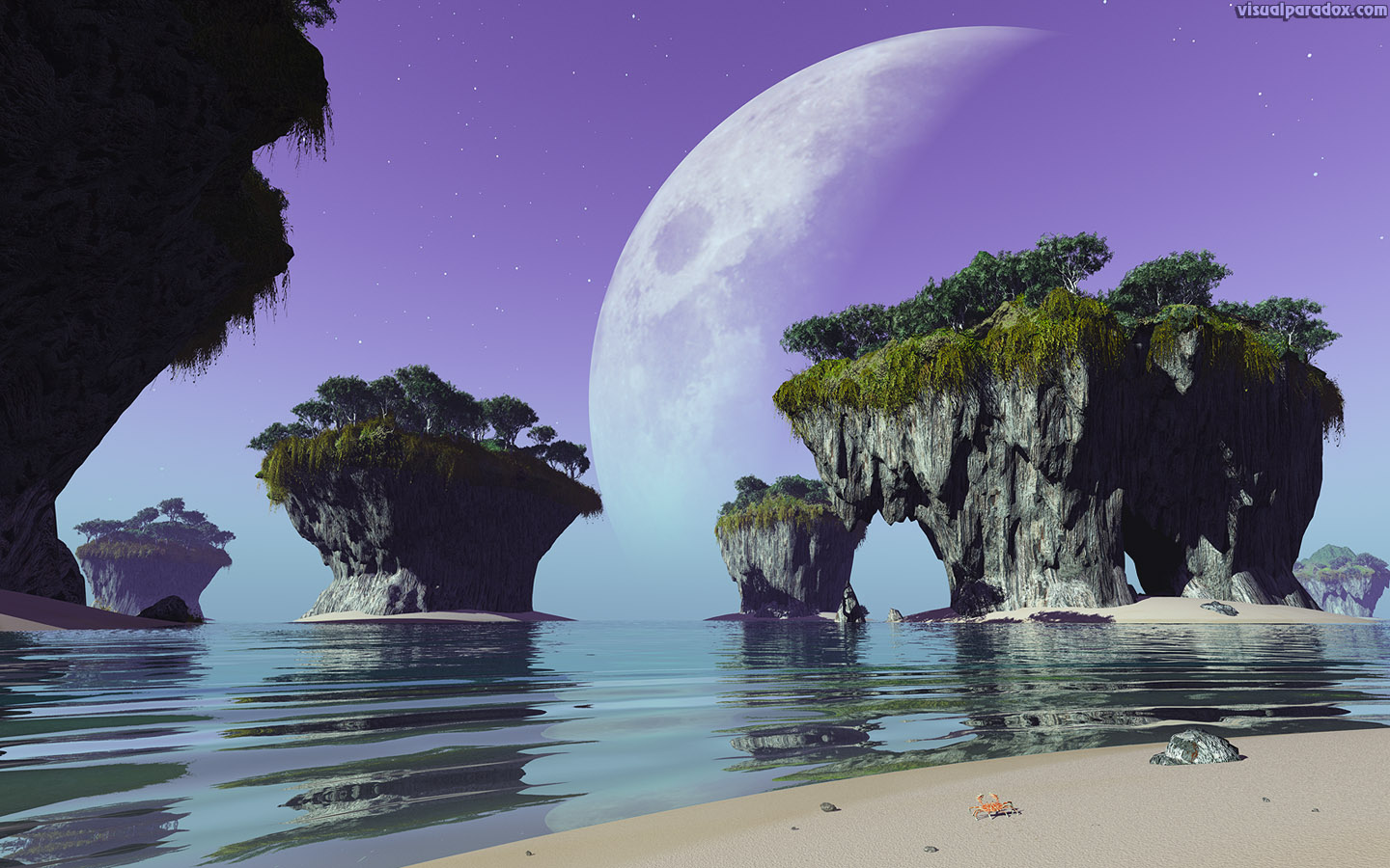 crab, alien, moon, ocean, sea, waves, erosion , 3d, wallpaper, widescreen