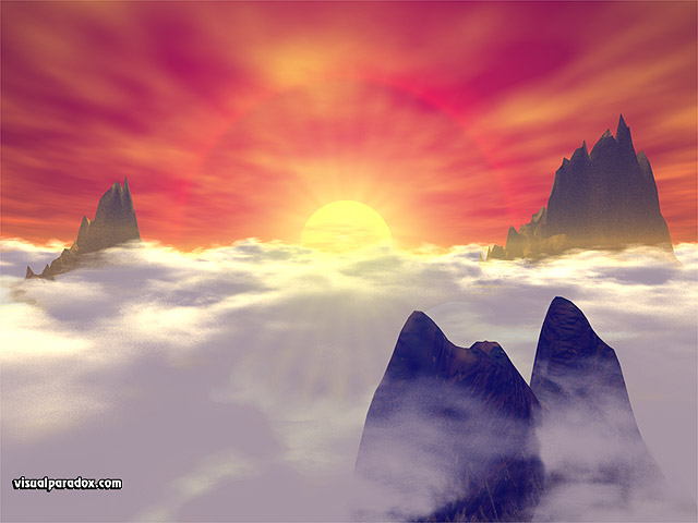 Free 3D Wallpaper 'Above The Clouds' 640x400