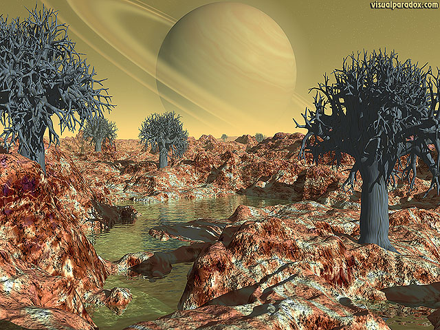 Free 3D Wallpaper 'Alien Planet' 640x400
