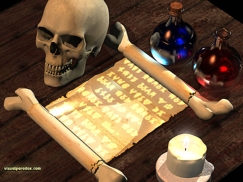 magic, spell, scroll, text, writing, tale, fantasy, skull, potion, spells, potions, 3d, wallpaper