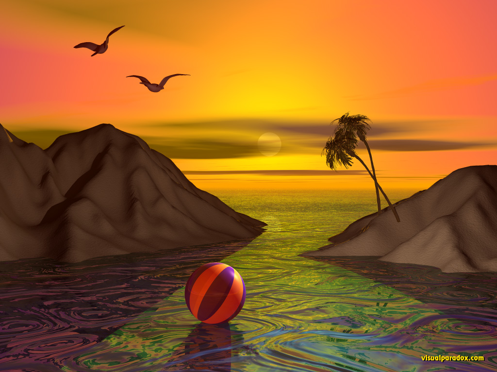 ocean, ripples, sea, palm trees, sunset, sunrise, seagulls, sand, 3d, wallpaper