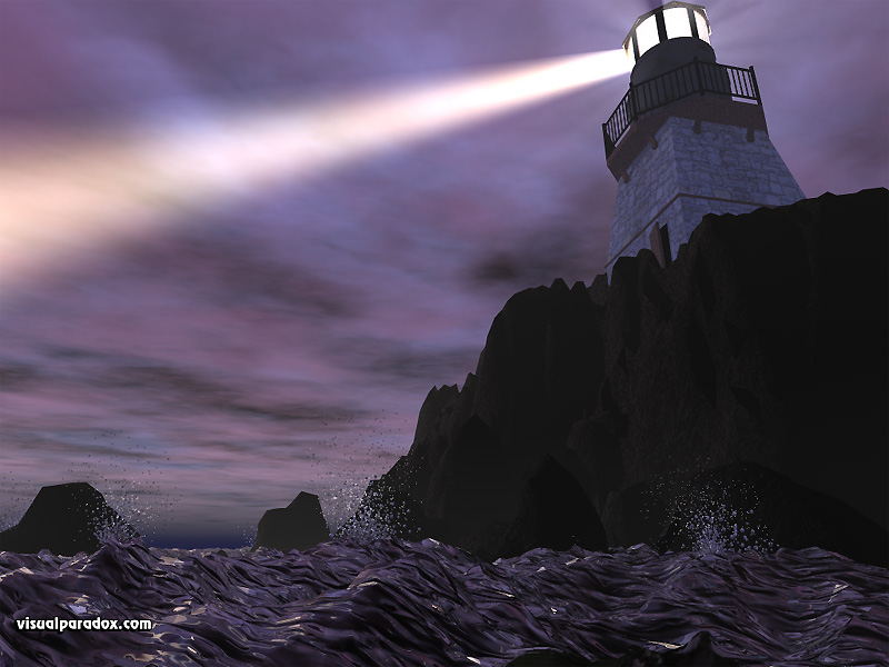 Lighthouse ocean cliff light beam storm 3d wallpaper