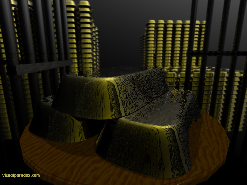 gold, bars, brick, fort knox, bank, money, rich, luster, greed, wall, streets, yellow, 3d, wallpaper