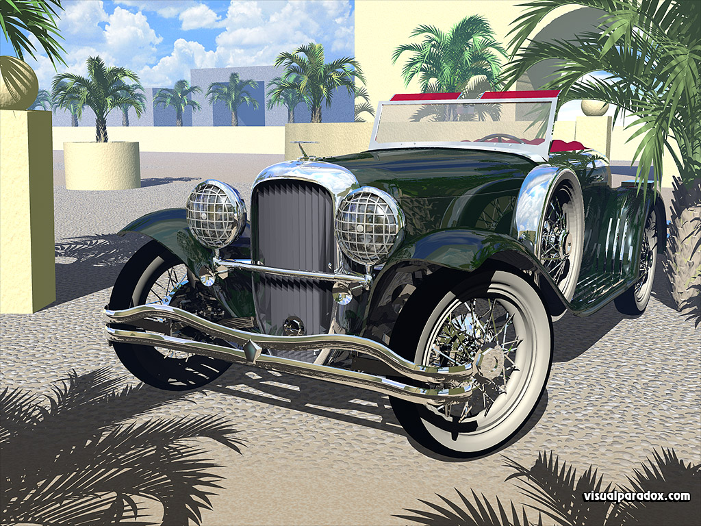 car, parked, palm trees, shiny, old, polished, cars, auto, automobile, autos, 3d, wallpaper