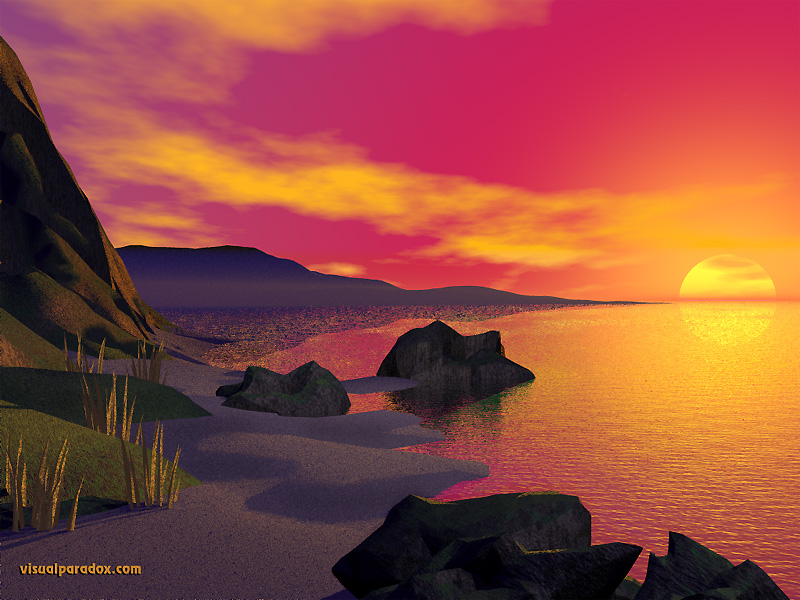 sunrise, red, sky, sand, rocks, cliffs, shoreline, sun, 3d, wallpaper