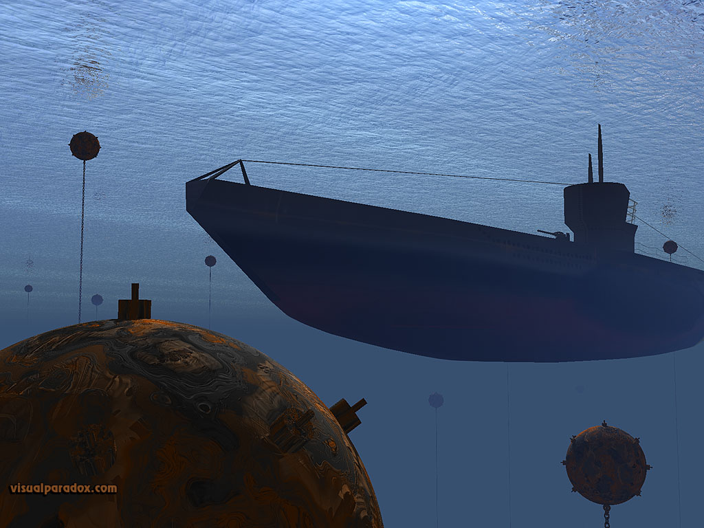 uboat, submarine, naval, mine, war, ww2, ocean, underwater, water, subs, mines, 3d, wallpaper