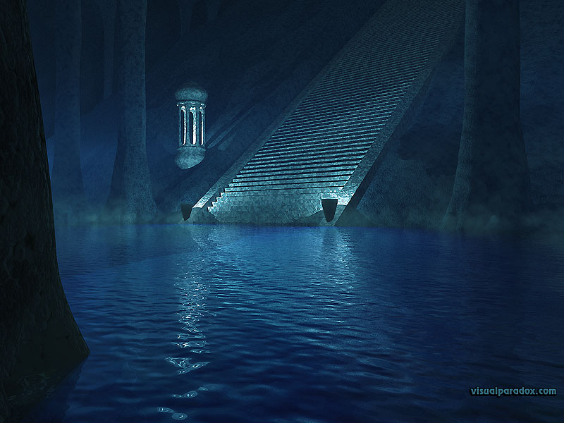 stairs, underground, columns, climb, cave, mysterious, mist, water, blue, stairway, 3d, wallpaper