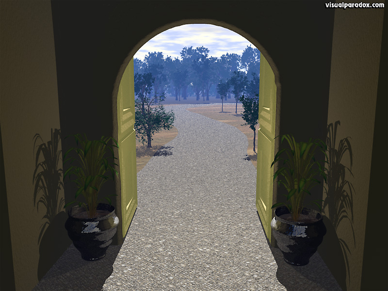 portal, passage, forest, path, road, exit, entry, woods, doors, door, 3d, wallpaper