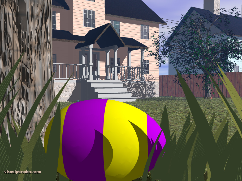 Easter egg hunt, colored, holiday, spring, morning, house, backyard, grass, hidden, find, 3d, wallpaper