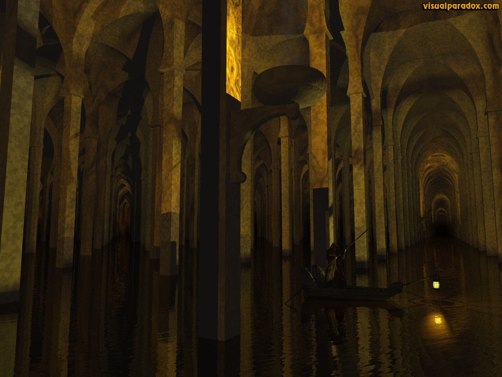 Charon. ferryboat, raft, skiff, river Styx, grim reaper, catacombs, underworld, sewer, dungeon, gondola, boat, 3d, wallpaper