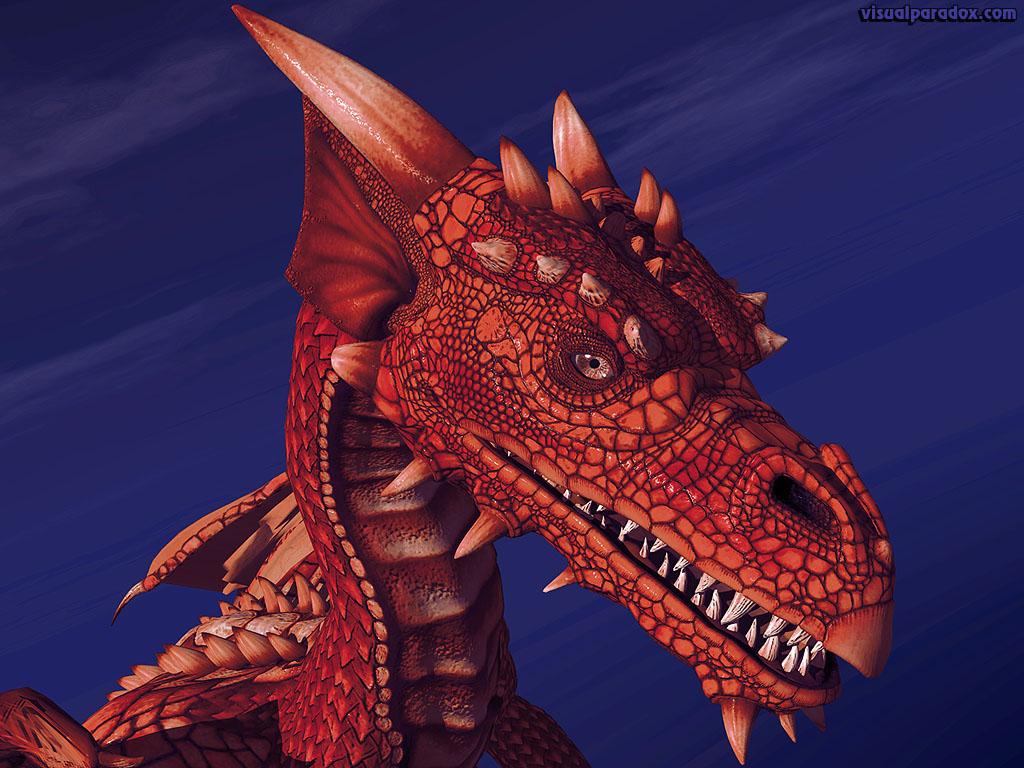 Dragon Wyrm Mythical Monster Soar Closeup Detail Red Fire