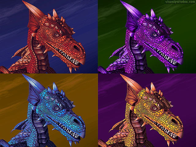 Free 3D Wallpaper 'Four Dragons' 640x400