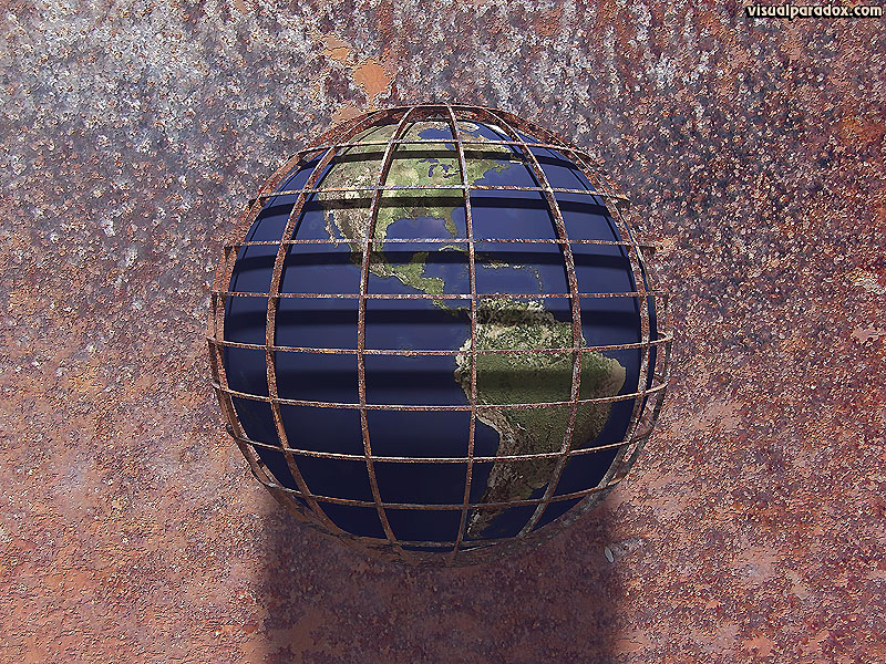 earth, world, global, planet, industrial, cage, prison, decay, rust, corrosion, rusty, corroded, 3d, wallpaper