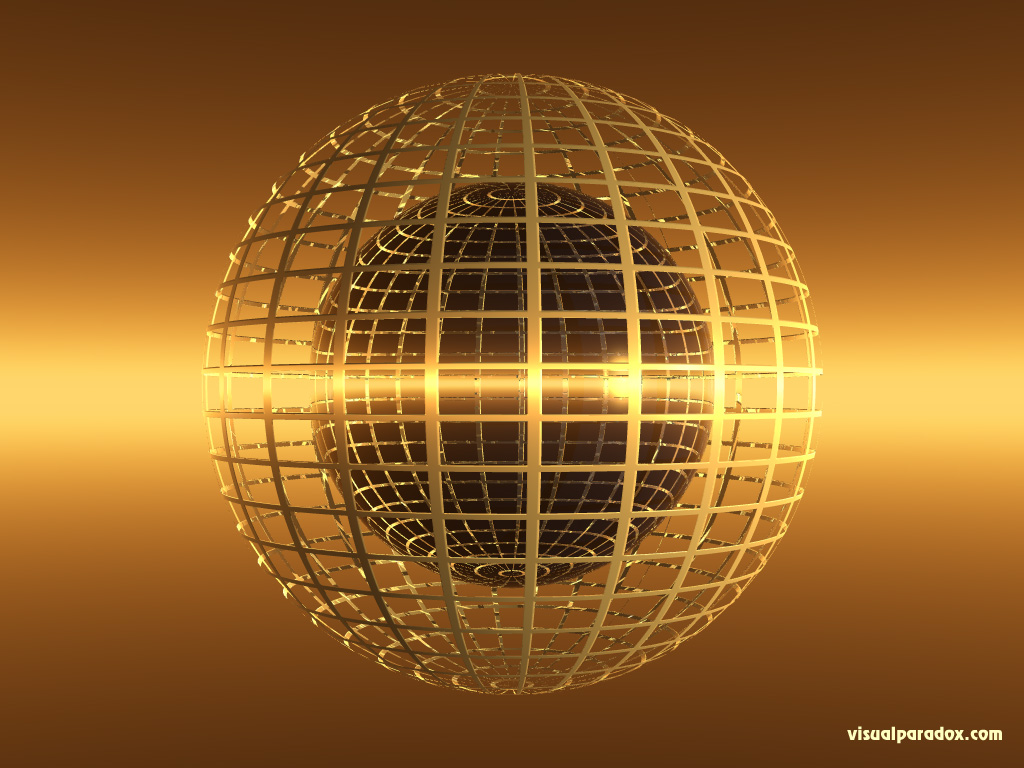 globe, ball, cage, abstract, sphere, gold, 3d, wallpaper