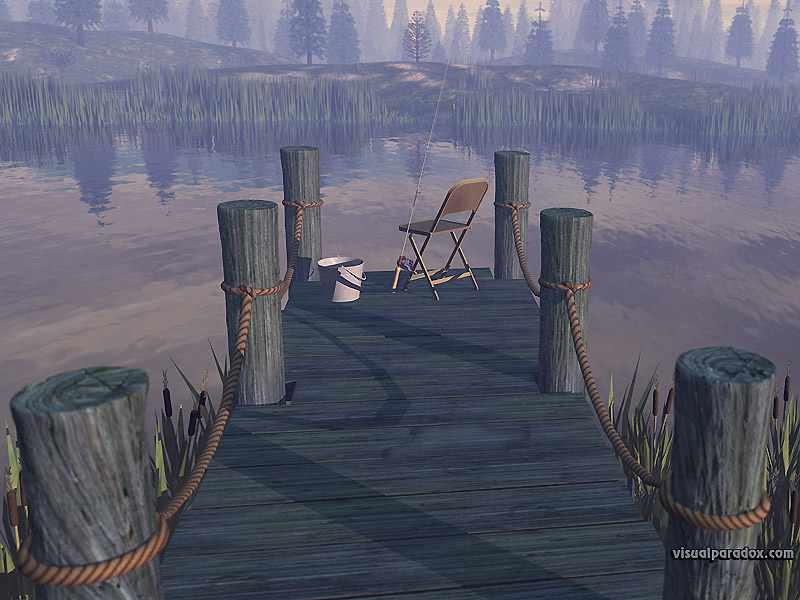 working, fishin, pier, dock, pole, rod, lake, forest, fish, pond, fishing, hole, bass, catfish, stream, river, 3d, wallpaper