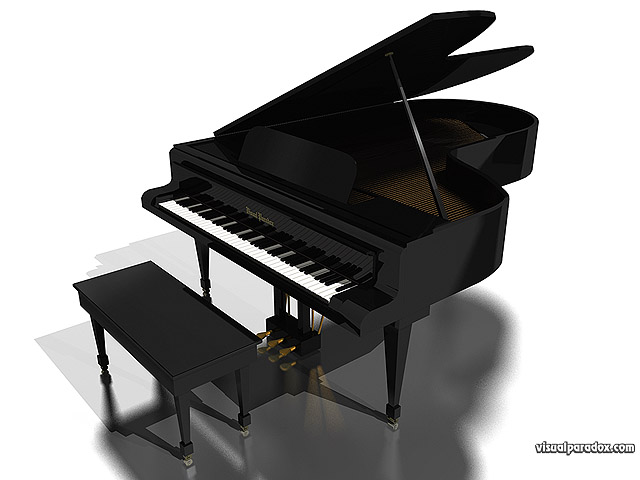 Free 3D Wallpaper 'Grand Piano' 640x400