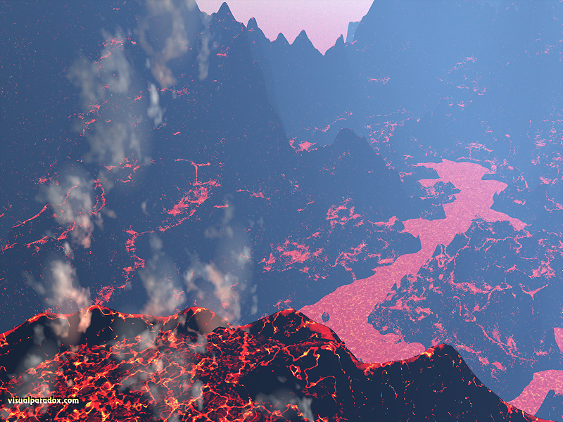 lava, smoke, fire, volcano, primordial, mountainous, molten, rock, 3d, wallpaper