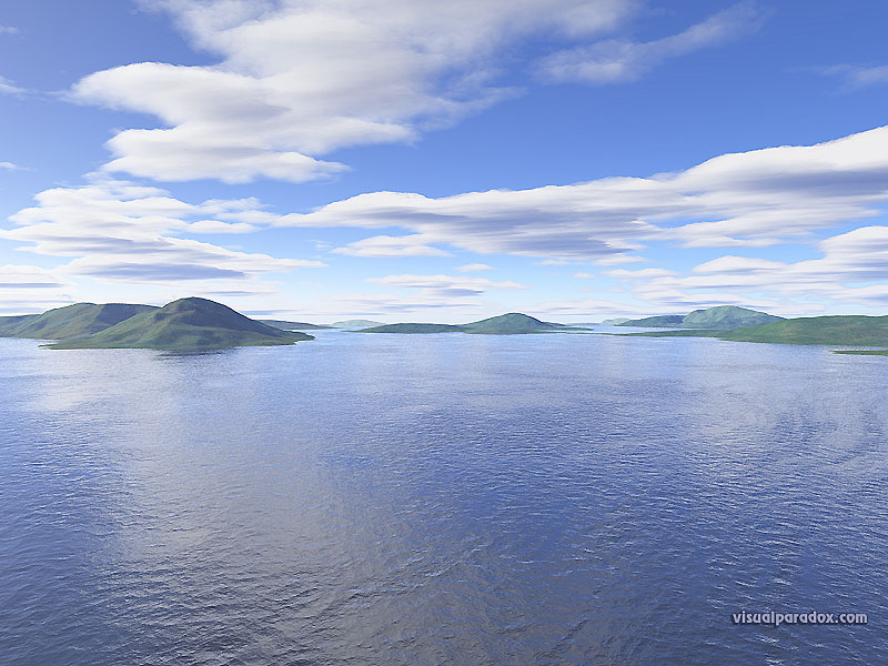 water, waves, ocean, islands, clouds, sky, blue, lagoon, lake, island, 3d, wallpaper