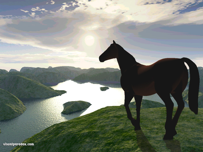 horse, hills, mountains, cliffs, water, lake, ocean, sunset, rise, rays, horses, animal, animals, 3d, wallpaper