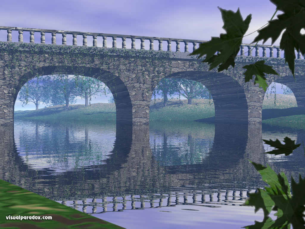 crossing, river, vines, stone, leaves, span, bridges, 3d, wallpaper