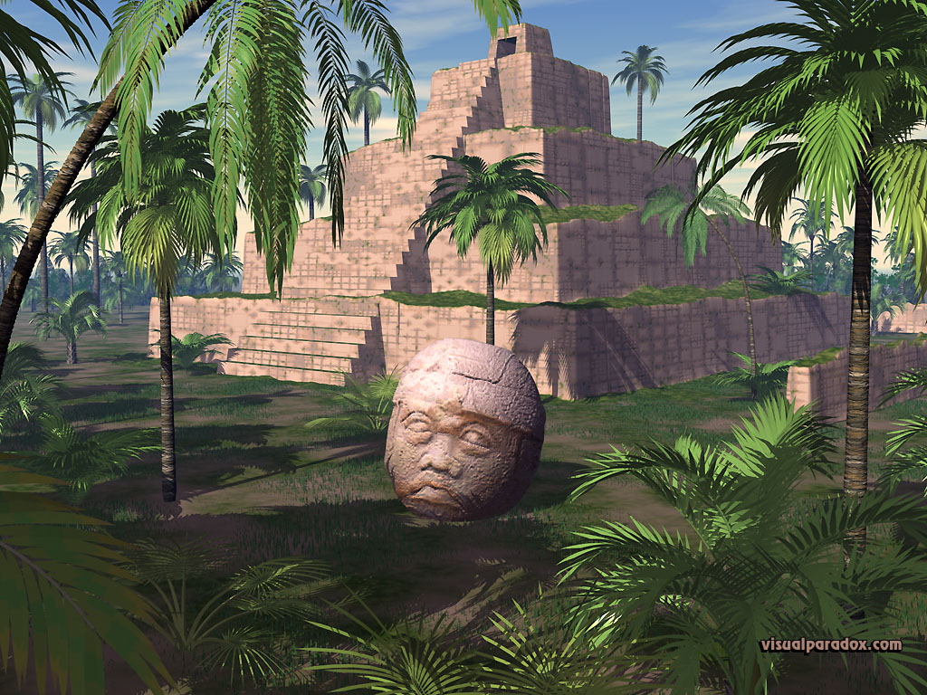 pyramid, tropical, palm, tree, stone, statue, Mayan, olmec, head, temple, 3d, wallpaper