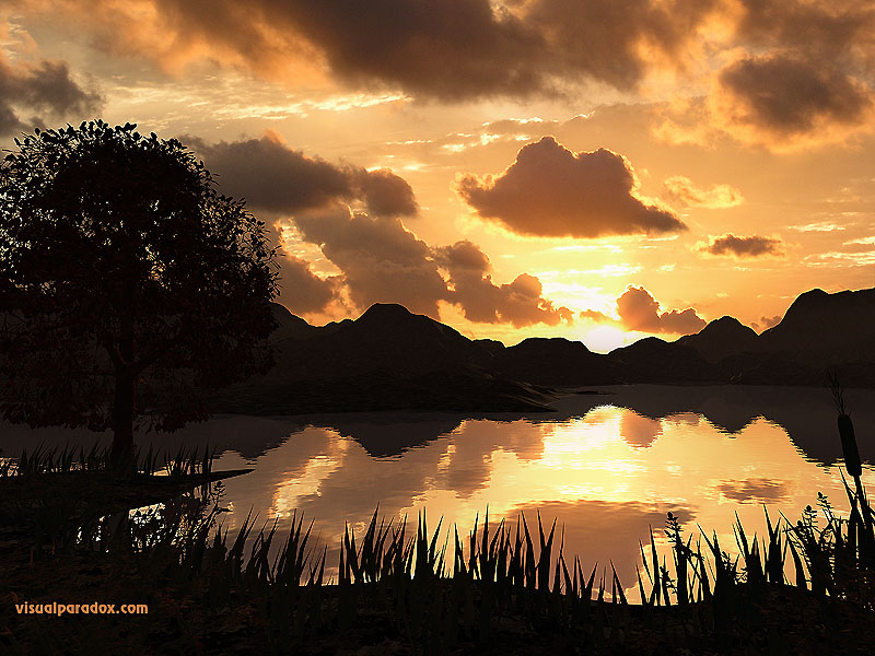 sunrise, shore, ripples, pond, reflecting, sun, 3d, wallpaper