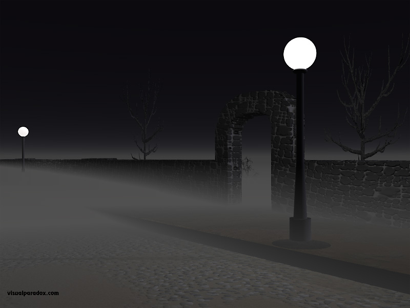 street, lights, fog, stone, wall, cobblestones, romantic, spooky, creepy, streelight, lamp, 3d, wallpaper