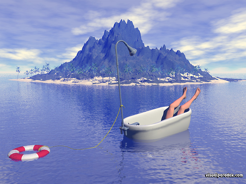 shipwreck, marooned, desert, island, isle, bathtub, rescue, lifesaver, shower, ocean, islands, 3d, wallpaper