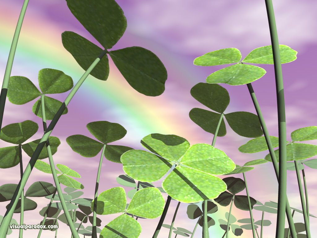 clover, four leaf, 4, st. patrick's day, saint, ground cover, clovers, 3d, wallpaper