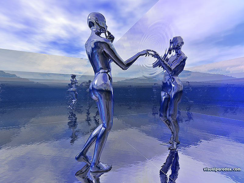 chrome, woman, mirror, reflection, ripples, curious, water, 3d, wallpaper