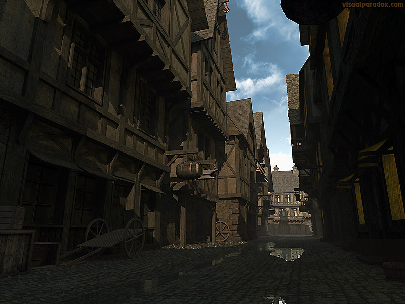 town, burg, city, hamlet, settlement, day, street, avenue, lane, alley, cobblestone, middle ages, dark, morning, 3d, wallpaper