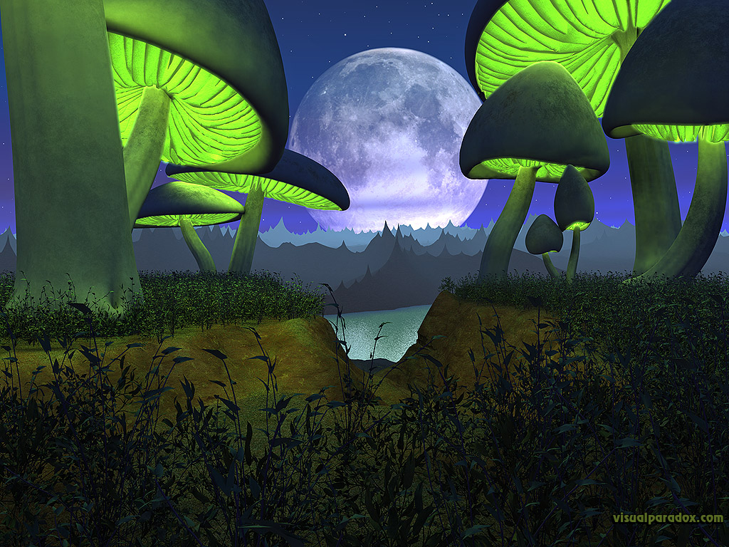 alien, planet, moon, lunar, toadstool, mushroom, glowing, landscape, 3d, wallpaper