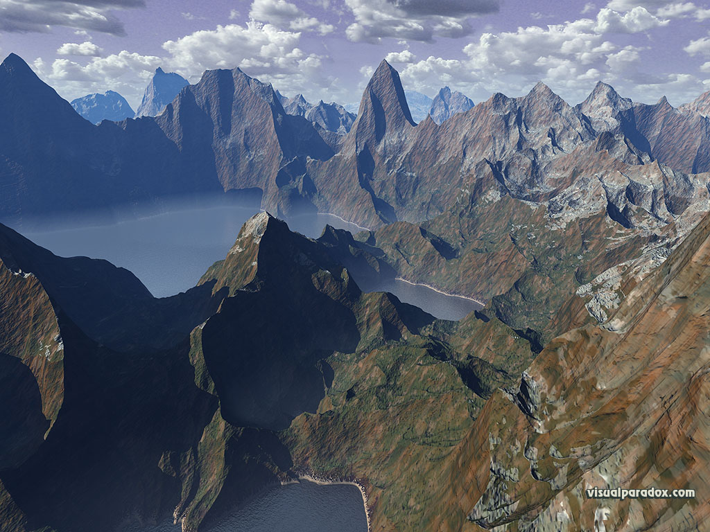 lake, canyon, water, clouds, fog, serene, peaks, mountains, steep, 3d, wallpaper