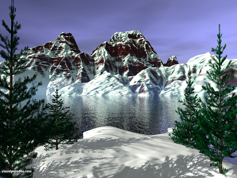 lake, snow, pines, trees, conifers, serene, peaks, thaw, winter, mountains, 3d, wallpaper