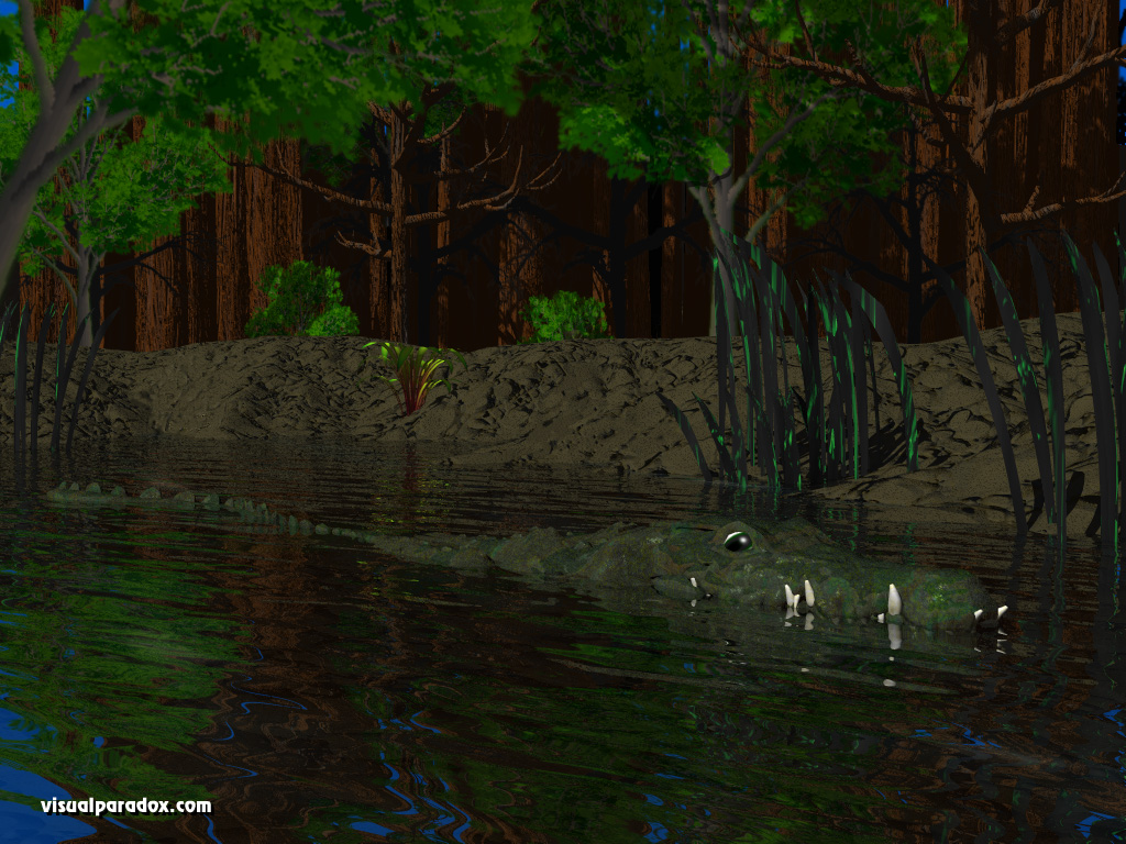 alligator, crocodile, pond, river, lake, swamp, forest, swimming, water, crocodiles, animal, animals, 3d, wallpaper