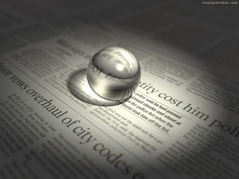 news, crystal, ball, sphere, glass, lens, spotlight, 3d, wallpaper