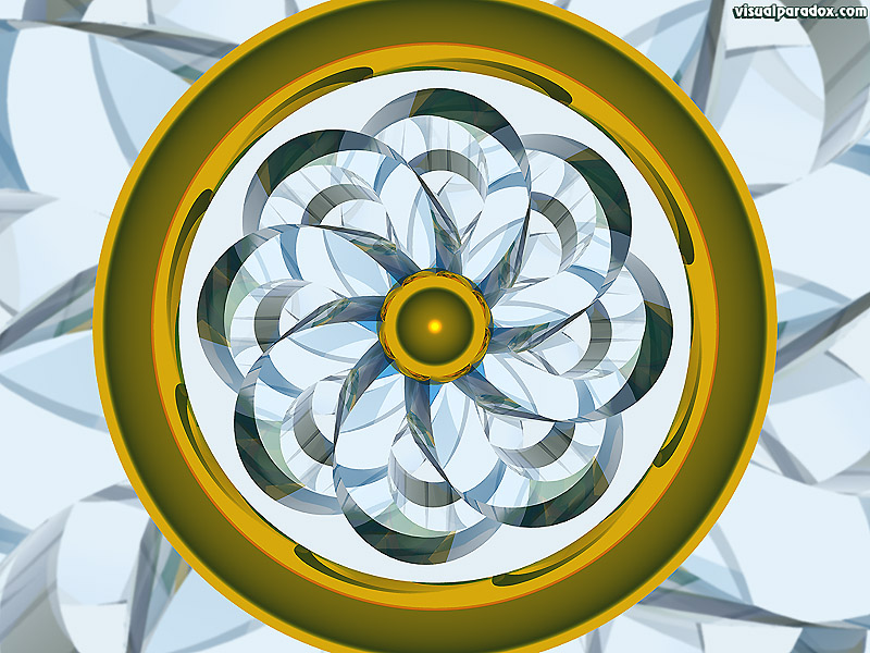 wheel, kaleidoscope, pinwheel, ring, absract, gold, glass, 3d, wallpaper