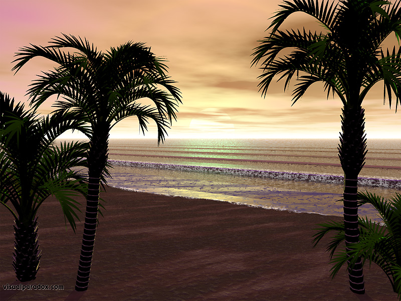waves, beach, palm trees, breakers, sea, foam, sand, sunset, 3d, wallpaper