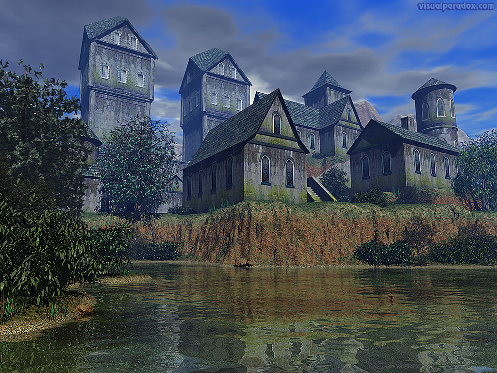 castle, keep. abbey, tower, medieval, village, moat, lake, towers, 3d, wallpaper