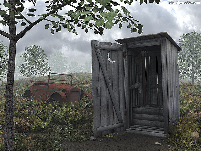 Free 3D Wallpaper 'Outhouse' 640x400